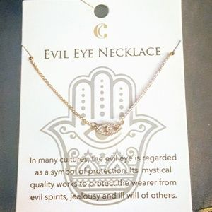 Delicate Rose Gold Evil Eye Pendant